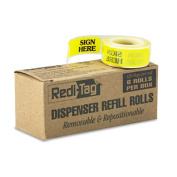 """Message Right Arrow Flag Refills, """"Sign Here"""", Yellow, 6 Rolls of 120 Flags"""