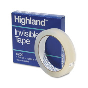 """Invisible Permanent Mending Tape, 3/4"""" x 2592"""", 3"""" Core, Clear"""