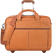 Rolling Laptop Computer Case, Leather, 17 x 8 x 13-1/2, Tan