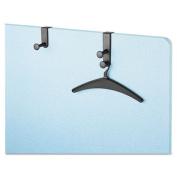 Over-The-Panel Hook with Steel Double-Garment Hanger, 1 3/4 x 6 7/8, Black