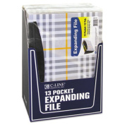 13-Pocket Expanding File, Nine Inch Expansion, Letter, Gray Plaid