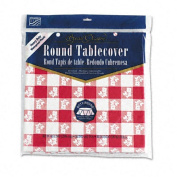 """Plastic Tablecovers, Red Gingham Pattern, 82"""" Round"""