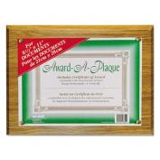 Award-A-Plaque Document Holder, Acrylic/Plastic, 10-1/2 x 13, Oak