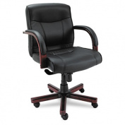 Alera Madaris Mid-Back Swivel/Tilt Leather Chair w/Wood Trim, Black/Mahogany