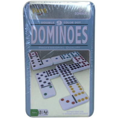 Ideal Double 9-Colour Dot Dominoes in Tin