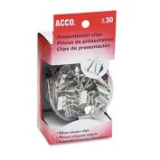 Acco 71138 Presentation Clips Steel/Nickel Asst. Sz Clips Silver/Satin Fin 30/Box