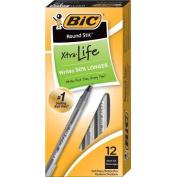 Round Stic Ballpoint Stick Pen, Black Ink, Medium, Dozen