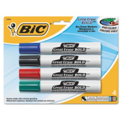 Great Erase Bold Dry Erase Markers, Chisel Tip, Assorted, 4/Pack