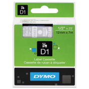D1 Standard Tape Cartridge for Dymo Label Makers, 1/2in x 23ft, White on Clear