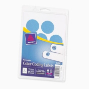 Print or Write Removable Color-Coding Labels, 1-1/4in dia, Light Blue, 400/Pack