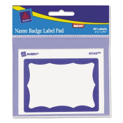 Avery 45144 Name Badge Label Pads- 4 x 3- Blue/White- 40/Pack