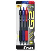 Pilot Pen Corporation 3 Count Assorted Colors Fine Point G2 Retractable Pens 3 - Pack of 6