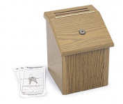 Safco 4230MO Medium Oak Wood Locking Suggestion Box