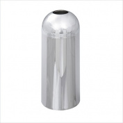 Reflections Open-Top Dome Receptacle, Round, Steel, 15gal, Chrome
