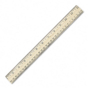 """Wood School Ruler w/Single Metal Edge, 12"""", Clear Lacquer Finish"""