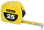 "Power Return Tape Measure, 3-Way Reading Blade, 1""W x 25 ft., Yellow"