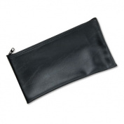 Leatherette Zippered Wallet, Leather-Like Vinyl, 11w x 6h, Black