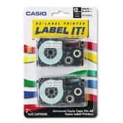 Tape Cassettes for KL Label Makers, 12mm x 26ft, Black on White, 2/Pack