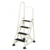 Four-Step Stop-Step Folding Aluminum Handrail Ladder, Beige