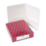 Two-Pocket Folders, Embossed Leather Grain Paper, White, 25/Box