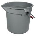 "14 Quart Round Utility Bucket, 12"" Diameter x 11 1/4""h, Gray Plastic"