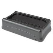 Swing Top Lid for Slim Jim Waste Containers, 11 3/8 x 20 3/8, Plastic, Black