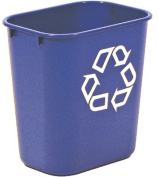 Rubbermaid Commercial Rectangular Blue Plastic Small Deskside Recycling Container, 12.3l