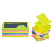 Fan-Folded Pop-Up Notes, 3 x 3, 4 Neon Colors, 12 100-Sheet Pads/Pack