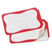 Self-Adhesive Name Badges, 2 x 3-3/8, Red, 100/Pack