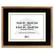 Hardwood Document/Certificate Frame w/Mat, 11 x 14, Antiqued Gold Leaf