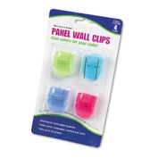 ADVANTUS Panel Wall Clip for Fabric Panels, Standard Size, 40-Sheet Capacity, Pack of 4, Assorted Cool Colours