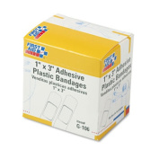First Aid Only G-106 Plastic Adhesive Bandages-1 x 3- 100/Box