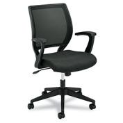 VL521 Series Mid-Back Work Chair, Mesh Back, Fabric Seat, Black