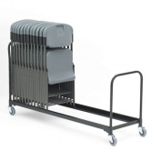 "Folding Chair Cart, 34-Chair Capacity, 21"" x 8 ft, Black"