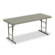 Iceberg ICE65627 IndestrucTable TOO 1200 Series Adjustable Height Plastic Folding Table, 180cm by 80cm , Charcoal