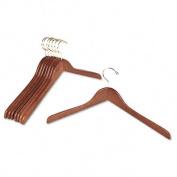 """Flat Hardwood Coat Hangers, 18"""", Metal Hook, Natural Oak Finish, 8/Pack"""
