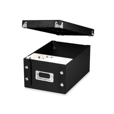 Ideastream SNS01577 Snap N Store Collapsible Index Card File Box Holds 1100 4 x 6 Cards Black
