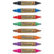 Artline 2-in-1 Whiteboard Marker, Bullet Line 2.0mm, Chisel Line 3.0-5.0mm, Assorted - Pack of 8