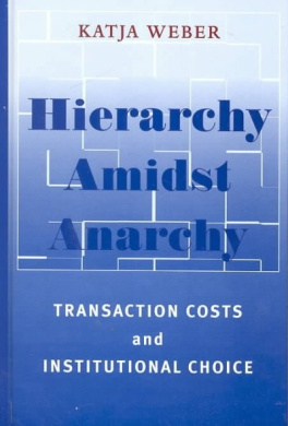 Hierarchy amidst Anarchy: Transaction Costs and Institutional Choice (SUNY series in Global Politics)