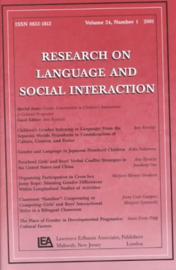 Gender Construction in Children's Interactions: A Cultural Perspective. a Special Issue of Research on Language and Social Interaction