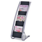 Alba DDEXPO6 Literature Floor 6-Pocket Display Rack 13-3/8w x 19-3/4d x 36-5/8h BLK/Chrome
