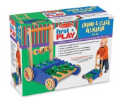 Melissa & Doug Deluxe Chomp And Clack Alligator Wooden Push Toy And Activity Wa