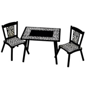 Levels Of Discovery Wild Side Table/Chair Set - Black and Ivory