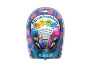 Kids Safe Headphones, Pink/Blue/Silver