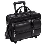 "McKlein 88445 17"" Clinton Black Leather Detachable-Wheeled Notebook Case"