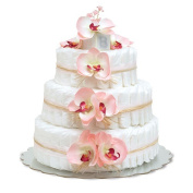 Bloomers Baby Nappy Cake-Hawaiian Pink Orchids with Pink Tulle & - L 3-Tier