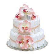 Bloomers Baby Nappy Cake-Hawaiian Pink Orchids with Pink Tulle & Raffia - Small 2-Tier