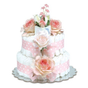 Bloomers Baby Nappy Cake-Classic Pink Roses with Polka Dots - Small 2-Tier