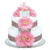 Bloomers Baby Nappy Cake-Safari Hot Pink Daisies with Leopard Print - Small 2-Tier