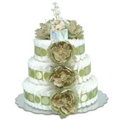 Bloomers Baby Nappy Cake-Classic Sage Peonies with Sage Circles - Small 2-Tier